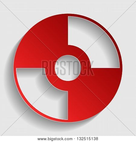 Vector CD or DVD sign. Red paper style icon with shadow on gray.