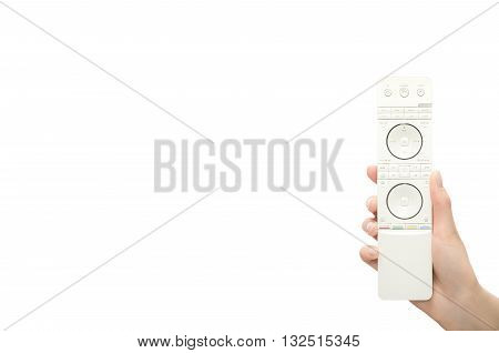 Hand with remote control. Isolated on white background.