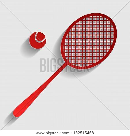 Tennis racquet sign. Red paper style icon with shadow on gray.