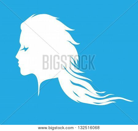 Woman face silhouette with long wavy hair. Pictogram for hair salon