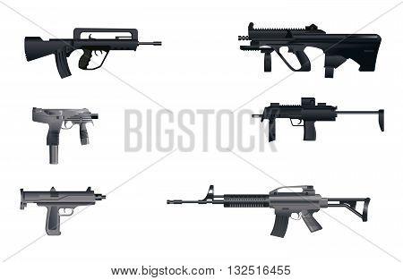 Vector illustration image of a six machine guns
