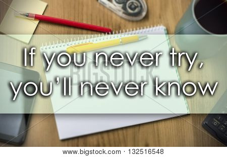 If You Never Try, You'll Never Know -  Business Concept With Text