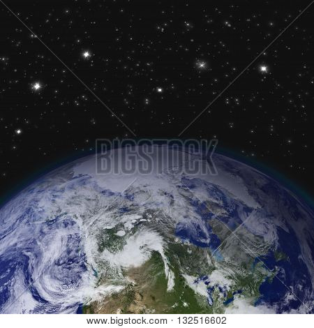 Creative abstract global communication scientific concept: space view of Earth planet globe with world map in Solar System of Universe. Elements of this image are furnished by NASA.