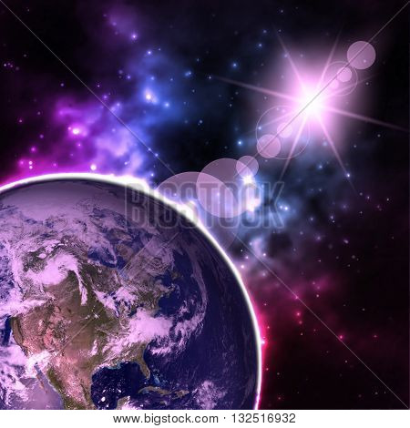 High Resolution Planet Earth view. The World Globe from Space in a star field showing the terrain and clouds. Elements of this image are furnished by NASA.