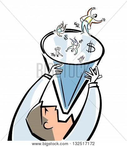 Vector illustration of a businessman and sales funnel