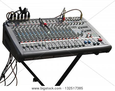 Electronic soundboard mixer console desk with cables isolated over white
