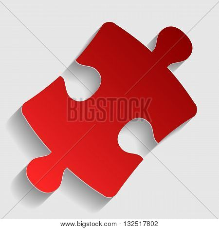 Puzzle piece sign. Red paper style icon with shadow on gray.