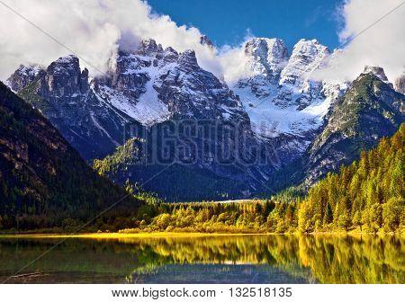 view from Lake di Landro Dolomites Italy to massif Monte Cristallo