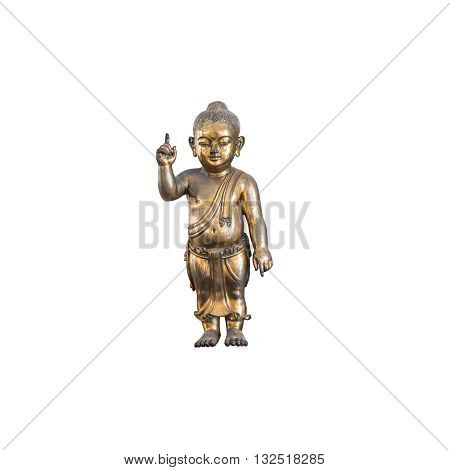 Closeup old brass baby buddha statue isolated on white background