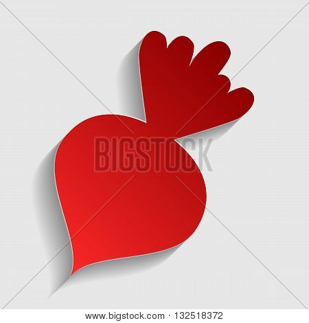 Beet simple sign. Red paper style icon with shadow on gray.