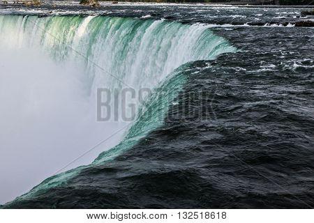 Close up view of the horse shoe falls at Niagara Falls in Ontario
