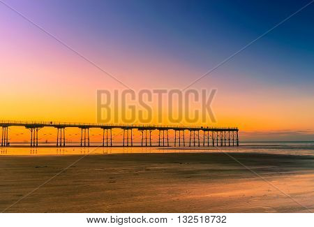Sunset pier at Saltburn by the Sea North Yorkshire UK