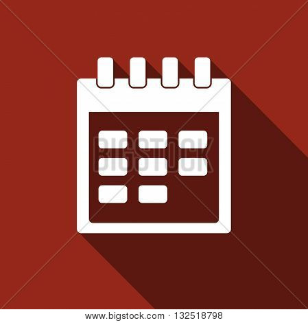Calendar icon with long shadow. Vector illustration