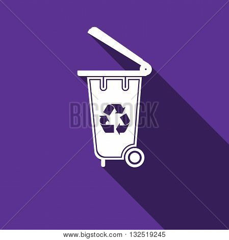 Trash can icon with long shadow. Vector illustration