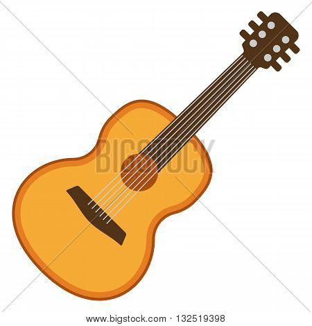 Classical acoustic flat guitar. Isolated silhouette classic guitar. Musical string instrument collection. Vector illustration isolated on white