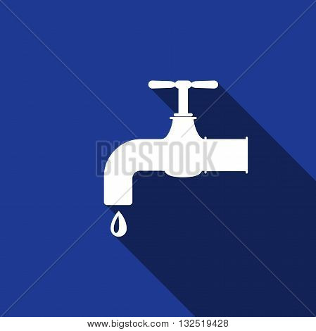 Water tap icon with long shadow. Vector illustration