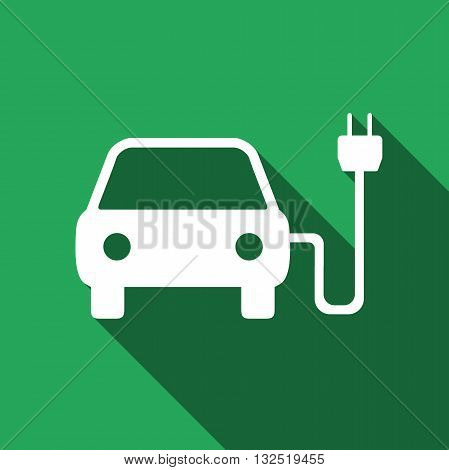 Vector illustration of electric powered car symbol icon with long shadow.
