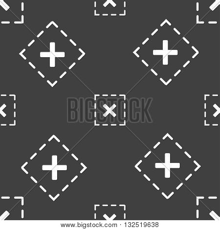 Cross In Square Icon Sign. Seamless Pattern On A Gray Background. Vector