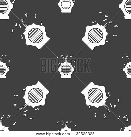 Old Analog Radio Icon Sign. Seamless Pattern On A Gray Background. Vector