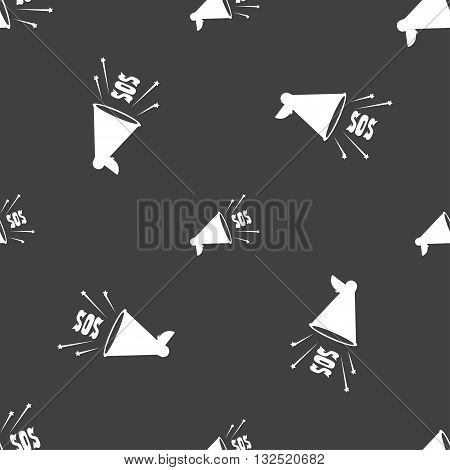 Sos Web Speaker Icon Sign. Seamless Pattern On A Gray Background. Vector