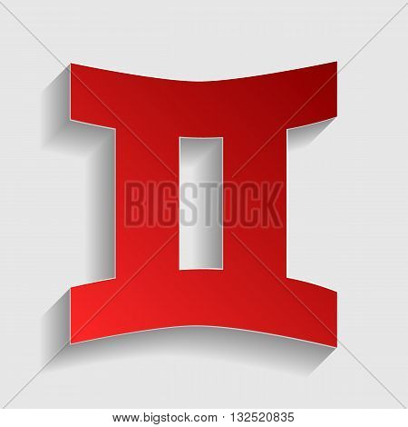 Gemini sign. Red paper style icon with shadow on gray.