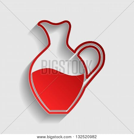 Amphora sign. Red paper style icon with shadow on gray.