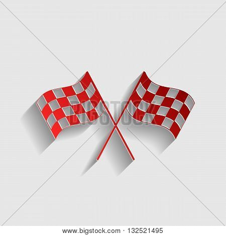 Crossed checkered flags logo waving in the wind conceptual of motor sport. Red paper style icon with shadow on gray.