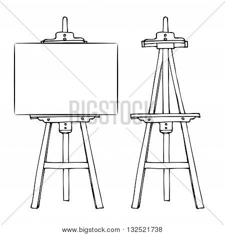 Wooden painting easel with blank canvas cartoon black and white hand drawn sketch style isolated on white background. Vector illustration.