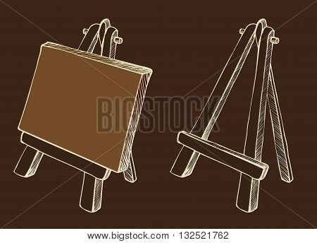 Wooden painting easel with blank canvas cartoon black and white hand drawn sketch style isolated on dark background. Vector illustration.