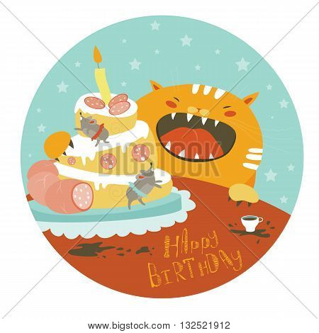 Funny cat and big cake with mouse. Vector illustration