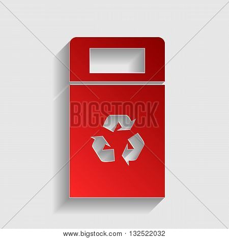 Trashcan sign illustration. Red paper style icon with shadow on gray.