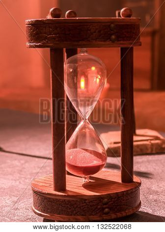 The Time passes seen from an hourglass
