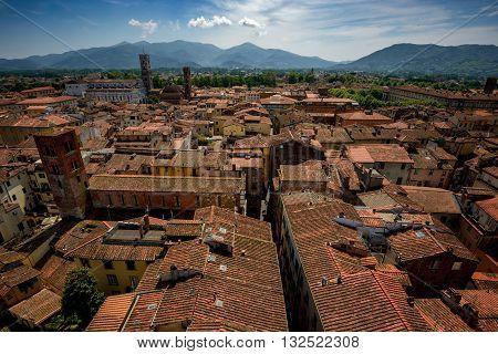 Amazing scenic view of Lucca and Duomo di San Martino from Torre dell Orologio Lucca Italy. San Cristoforo church.