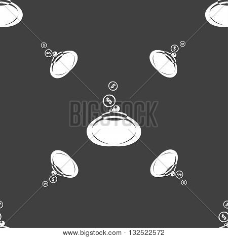 Retro Purse Icon Sign. Seamless Pattern On A Gray Background. Vector