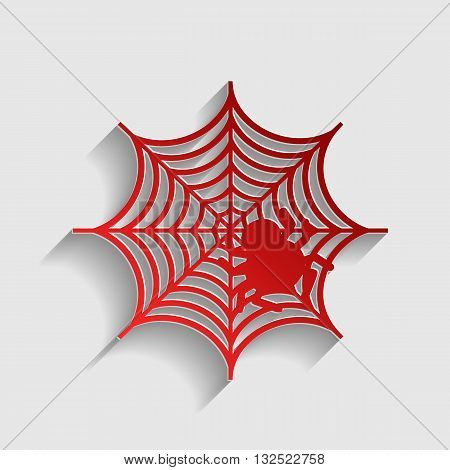 Spider on web illustration. Red paper style icon with shadow on gray.