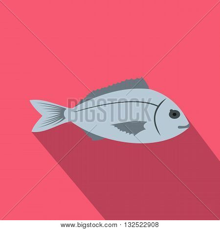 Saltwater fish icon in flat style with long shadow. Sea and ocean symbol