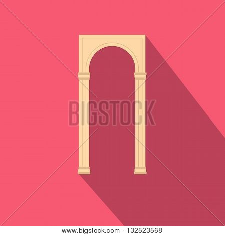 Rectangular arch icon in flat style with long shadow. Construction and interiors symbol