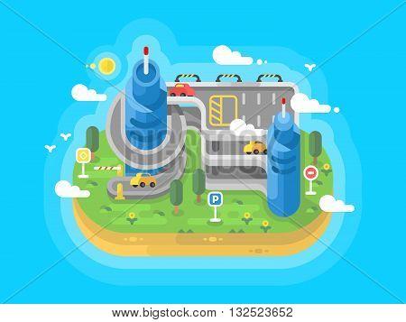 Level parking flat. Garage building architecture, system place for transport. Vector illustration