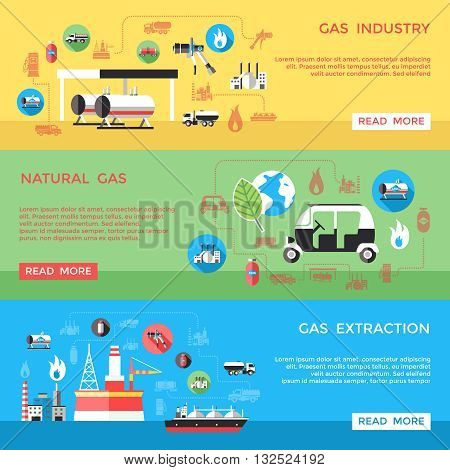 Gas industry horizontal banners set with extraction transportation processing storage supply use isolated vector illustration