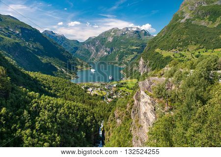 Geirangerfjord is the most famous natural landmark in Norway. UNESCO heritage site