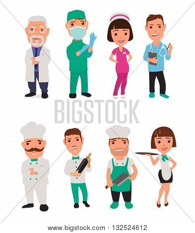 Set icon male female character cook and doctor. Waiter chef waitress nurse surgeon. Vector flat illustration on white background. Vector flat illustration on white background. Collection icon