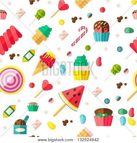 Seamless background pattern with sweets fruits on sticks cupcakes candies and some different confection vector illustration