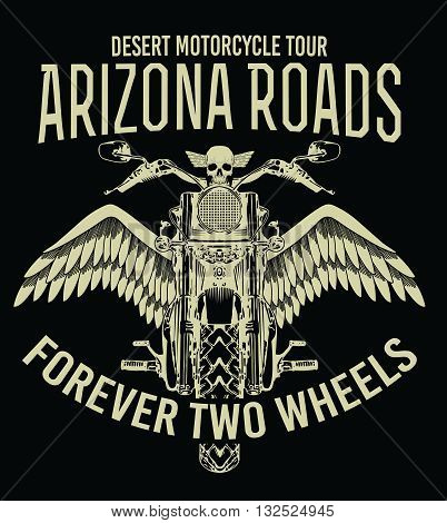 Motorcycle typography, t-shirt graphics, vectors,Arizona roads,bikes,wings,skull,forever,motorbike tour
