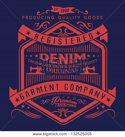 Vintage denim typography, t-shirt graphics, vectors,label,logo,garment,denim label