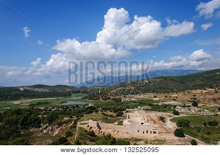 Ancient ruins of theater and odeon in Patara Turkey