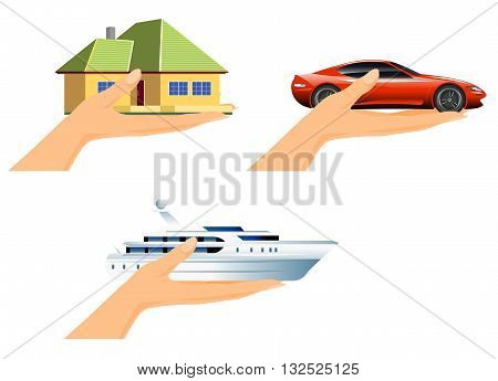 Vector illustration of a hand rich gift