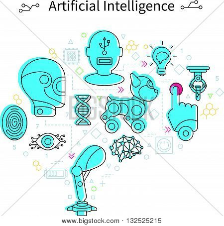 Artificial intelligence poster robots head and different tools in lyne style and blue color vector illustration