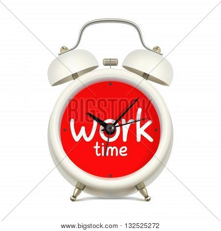 White alarm clock with red clock face with inscription