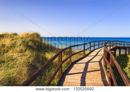 The Regional Natural Park Dune Costiere (Torre Canne): wooden walkway between sea dunes. BRINDISI (Apulia)-ITALY- The park covers the territories of Ostuni and Fasano along eight kilometers of coastline.