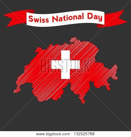 Swiss international day background. Flat modern vector illustration with a map and ribbon for Switzerland Independence Day.